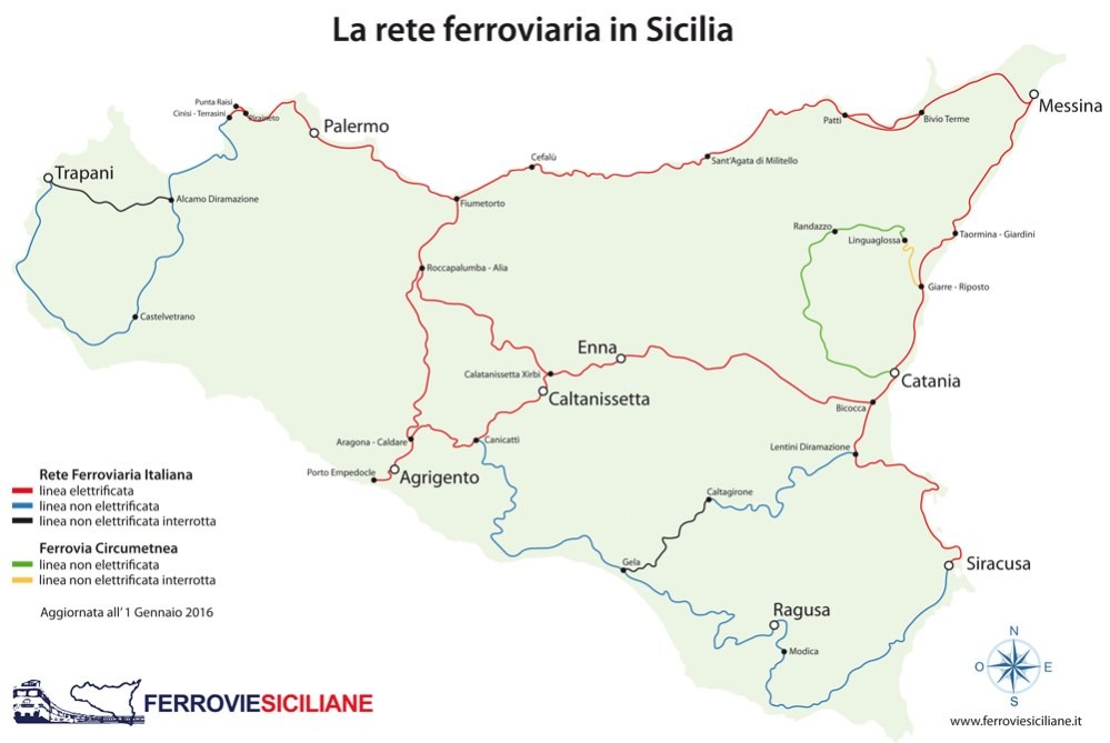 Les lignes de train en Sicile - FERROVIE SICILIANE - MAPPA